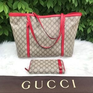 GUCCI Nice Supreme Canvas & Red Leather Tote Bag